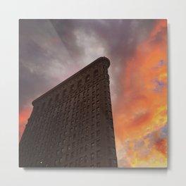 Flatiron Fire Sky Metal Print