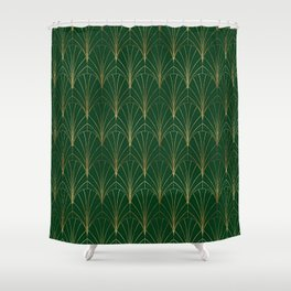 Art Deco Waterfalls // Emerald Green Shower Curtain