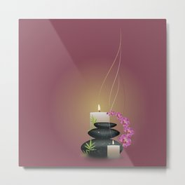 Pebbles with orchid Metal Print