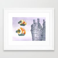 baloon Framed Art Prints featuring fish baloon by Silvia Perini