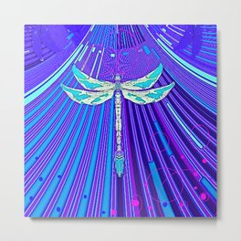 Electric Charged Zinger Dragonfly  Metal Print