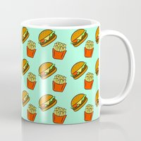 fries Mugs featuring Burgers & Fries by CozyReverie