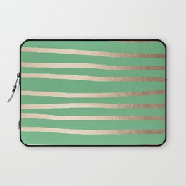 Abstract Drawn Stripes Gold Tropical Green Laptop Sleeve