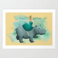 Lovely Hippo Art Print