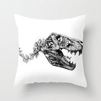 trex Throw Pillows featuring Jurassic Bloom - The Rex.  by Sinpiggyhead