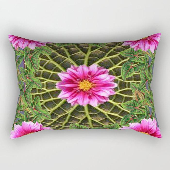 Abstracted Fuchsia Pink Dahlias Stylized Garden Pattern Rectangular Pillow