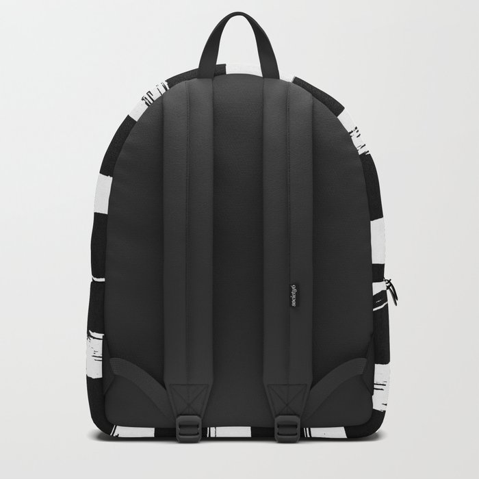 Paint Stripes Black and White Backpack