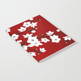 Red Black And White Cherry Blossoms Notebook