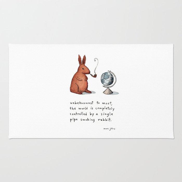 Pipe-smoking rabbit Rug