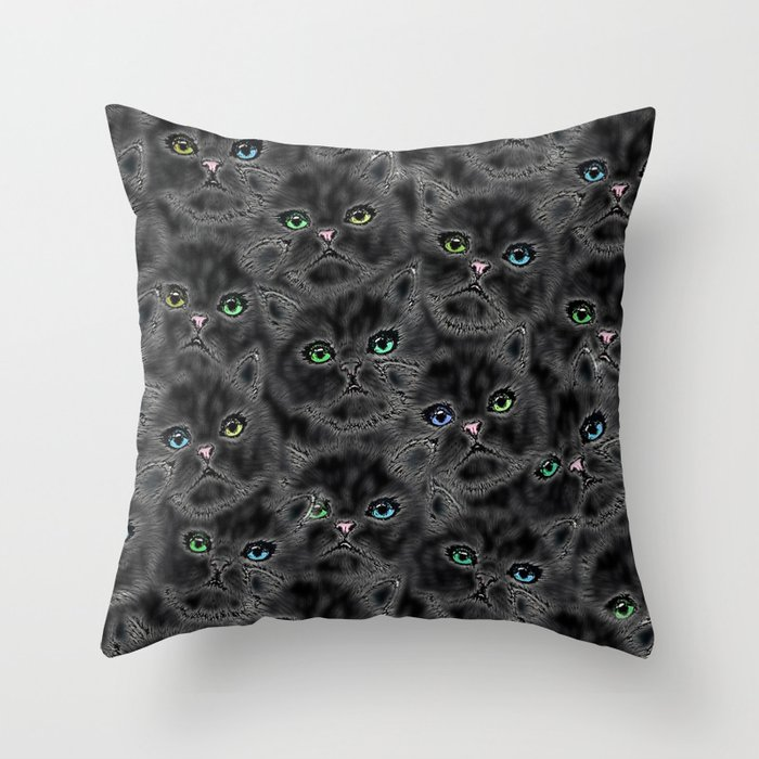 Black Kitten Faces Throw Pillow