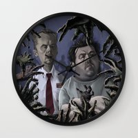 shaun of the dead Wall Clocks featuring Shaun of the Dead Caricature by Richtoon
