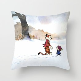 calvin hobbes snow Throw Pillow