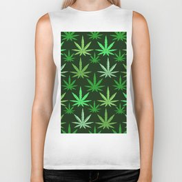 Marijuana Green Leaves Weed Biker Tank