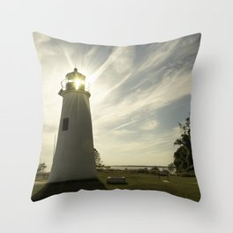 Turkey Point Lighthouse with Sun Flare Horizontal Coastal Landscape Photo Throw Pillow