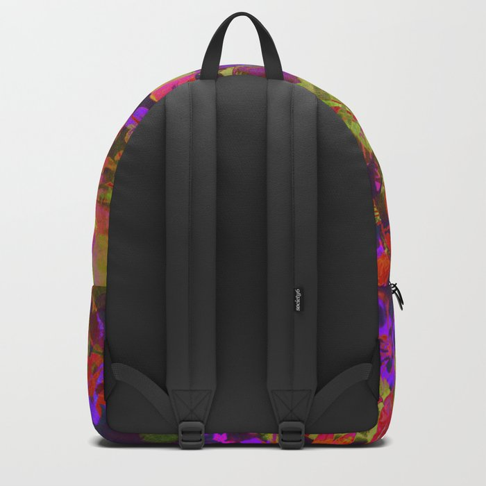 colorful floral with purple accent Backpack