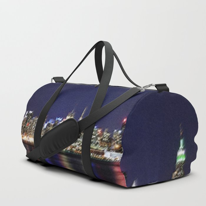 Midtown Manhattan Reflecting on the East River Landscape Painting by Jeanpaul Ferro Duffle Bag