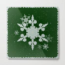 Snow Falls - Green Metal Print