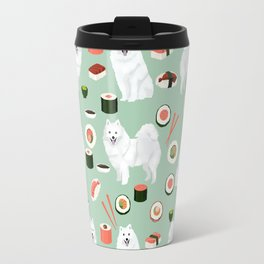 Japanese Spitz sushi kawaii dog portrait custom pet lover pattern by pet friendly Travel Mug