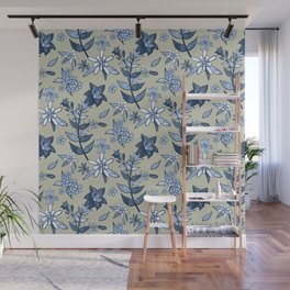 Monochrome Tan and Blue Alpine Flora Wall Mural