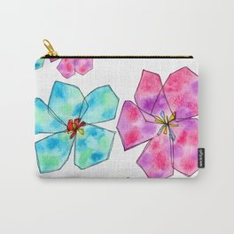 Hibiscus Flower pattern Floral painting watercolor illustration summer California Tropical Beach Carry-All Pouch
