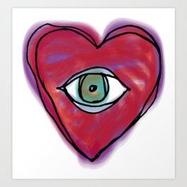 DOODLE HEART EYE 1 Art Print