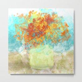 Orange Bouquet in Yellow Vase Metal Print