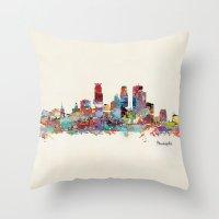minneapolis Throw Pillows featuring Minneapolis Minnesota skyline by bri.buckley
