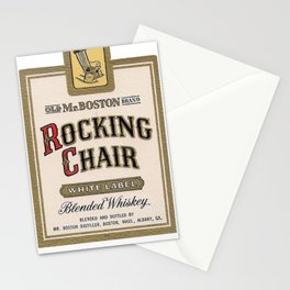 Vintage Labels Old Mr. Boston Brand Rocking Chair White Label Blended Whiskey Stationery Cards
