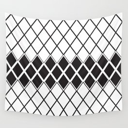Rombs Black and white pattern Wall Tapestry
