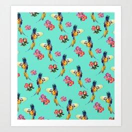 Parrot Print in Aqua Art Print