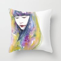 lime Throw Pillows featuring lime nights by agnes-cecile
