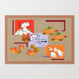 American Sign Language ASL Happy Thanksgiving Canvas Print