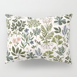 Herbarium ~ vintage inspired botanical art print ~ white Pillow Sham