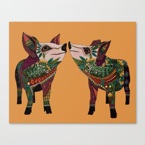 pig love amber Canvas Print