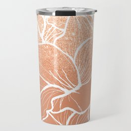 Modern copper tan terracotta glitter ombre color block white floral pattern illustration Travel Mug