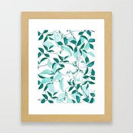fresh green leaf pattern Framed Art Print