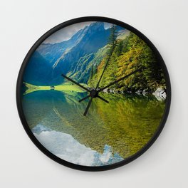 clouds cloudy daylight environment forest hill idyllic lake landscape mountain mountains nature outdoors placid reflection river rock scenic sky snow summer travel tree trees valley water wood woods Wall Clock