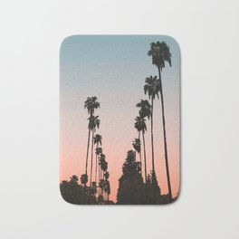 California Sunset // Palm Tree Silhouette Street View Orange and Blue Color Sky Beach Photography Bath Mat