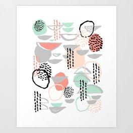 Callie - abstract minimal pastel art print texture ink hipster minimalist office or nursery Art Print