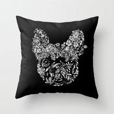 Botanical frenchie Throw Pillow