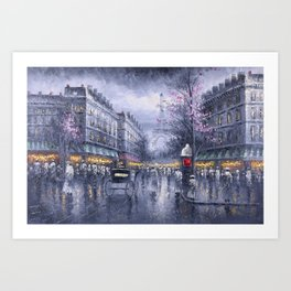 City of Lights, Eiffel Tower, Twilight Paris, France Street Scene landscape painting Art Print