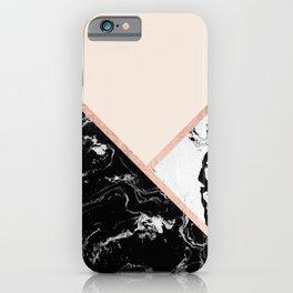 Modern black white marble rose gold color block stripes blush pink iPhone Case