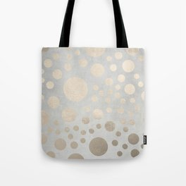 Champagne Gold Dots Pattern on Old Metal Texture Tote Bag