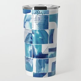 Blue Watercolor Typographical Fragments Cheater Quilt Travel Mug