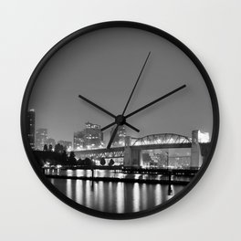 Vancouver in the Haze BW Wall Clock