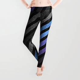 stripES Blue Periwinkle Gray Pixels Leggings