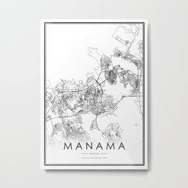 Manama City Map Bahrain White and Black Metal Print