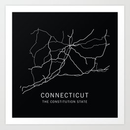 Connecticut State Road Map Art Print