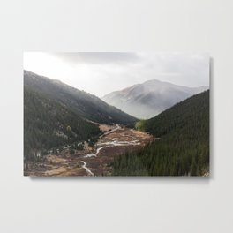 Clouds Rolling in Over Rocky Mountain Pass Metal Print