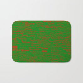 Merry Christmas, red on green Bath Mat